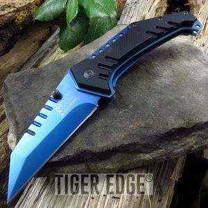 Mtech Blue Ti-Coated Sheep Foot Blade Spring Assisted Tactical Folding Knife