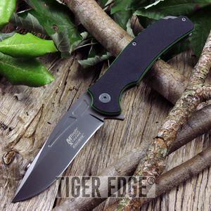 Mtech G10 Black Green Spring Assisted Folding Knife Titanium Coated Blade
