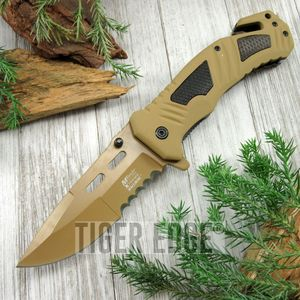 SPRING-ASSIST FOLDING POCKET KNIFE Mtech Tan Serrated Blade Rescue Tactical