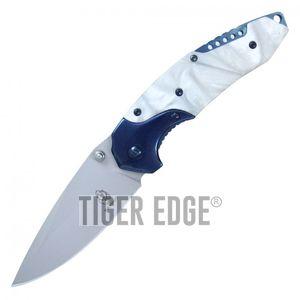 Spring-Assisted Folding Knife Buckshot White Pearl Tactical Hunter Blue Blade