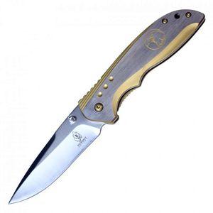 Spring-Assisted Folding Knife Buckshot Gray Gold Eagle 3.75