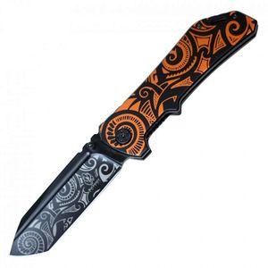 Spring-Assisted Folding Knife Buckshot Black Orange Spiral Tactical Tanto Blade