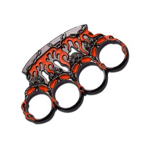 Orange and Gunmetal Flame Skull Brass Knuckle Paperweight