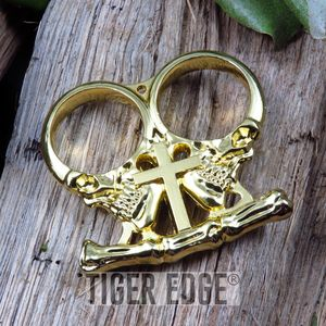 BRASS KNUCKLE | Gold Two-Finger Gothic Cross Skull Paperweight Biker Duster