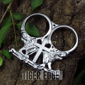 BRASS KNUCKLE | Silver Two-Finger Gothic Cross Skull Paperweight Biker Duster