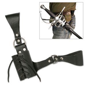 Universal Lace Up Black Leather Sword Frog Blade Holder Medieval Belt Carry