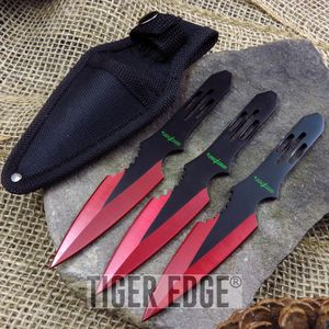 Perfect Point Triple Red Black Dual Tone Throwing Knife Set Three Pack Gift