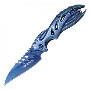 Spring-Assist Folding Knife Wartech Blue Fantasy Alien EDC Wharncliffe Blade