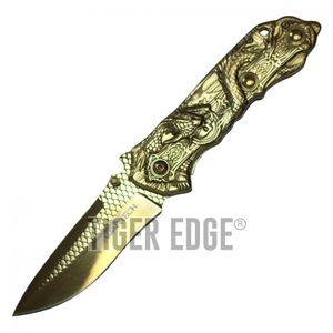 Spring-Assist Folding Pocket Knife | Wartech Gold Blade Steel Dragon Tactical