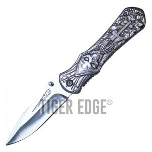 Spring-Assist Folding Pocket Knife Wartech Silver Catholic Cross Grim Reaper EDC