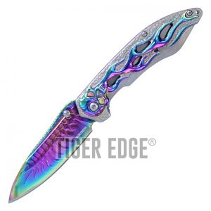 Spring-Assisted Folding Knife | Wartech Silver Rainbow Skull Spine Blade Flames