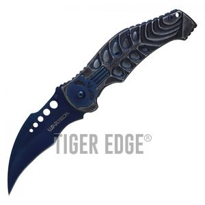 Spring-Assist Folding Pocket Knife Wartech Blue Skull Skeleton Hawkbill Blade