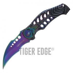 Spring-Assist Folding Pocket Knife Wartech Rainbow Skull Skeleton Hawkbill Blade