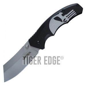 Spring-Assist Folding Pocket Knife Wartech Black Skull Gray Blade Tactical Razor