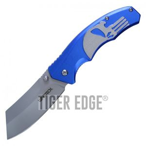 Spring-Assist Folding Pocket Knife Wartech Blue Skull Gray Blade Tactical Razor