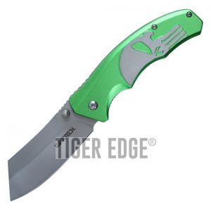 Spring-Assist Folding Pocket Knife Wartech Green Skull Gray Blade Tactical Razor