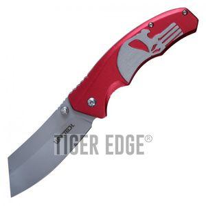 Spring-Assist Folding Pocket Knife | Wartech Red Skull Gray Blade Tactical Razor