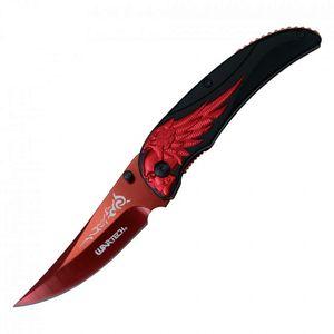 Spring-Assisted Folding Pocket Knife | Wartech Black Red Blade Skull Wing Rider