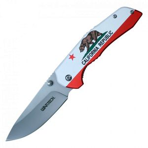Spring-Assisted Folding Pocket Knife | California Republic Flag Silver Blade