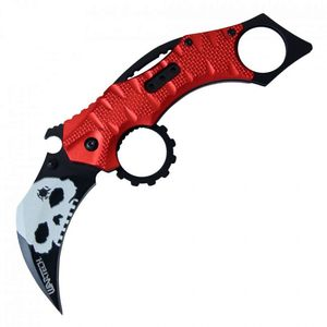Spring-Assist Folding Knife | Wartech Black Skull Blade Red Tactical Karambit