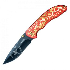 Spring-Assisted Folding Knife | Wartech Black Blade Red Gold 'Veritas Aequitas'