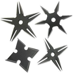 Four Pack Ninja Throwing Star Set Black Manga Shuriken Knife w/ Sheath