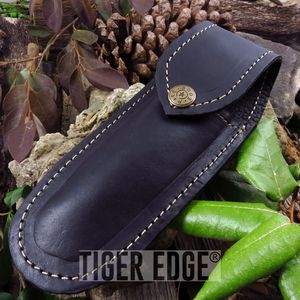 STRAIGHT RAZOR SHEATH Leather Black Carrying Case for Shaving Blade Snap Button