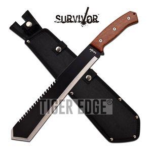 Survival Machete | Bolo Tanto Black Sawback Brush Blade Wood Handle 20