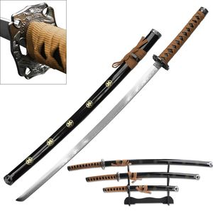 3 Piece Brown Japanese Katana Sword Display Set with Stand Anime Sakura