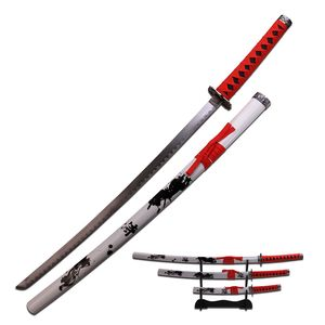 JAPANESE SAMURAI SWORD KATANA | Black Red White Carbon Steel 3 Pc. Set + Stand