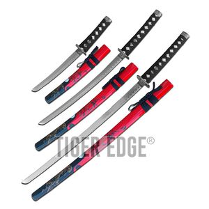 Katana Set | 3 Piece Red Black Tiger Japanese Samurai Decorative Sword Set