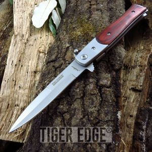 Tac-Force Stiletto Brown Wood Handle Spring-Assisted Folding Knife