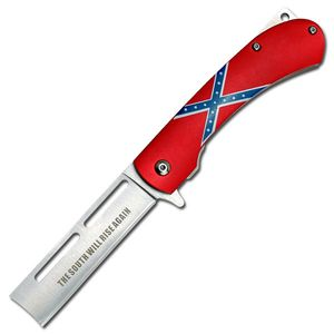Confederate Rebel Dixie Flag Spring-Assisted Straight Razor Folding Knife