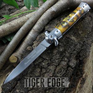 Tac-Force Amber Gold Stiletto Spring Assisted Folding Pocket Knife