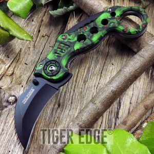 Tac-Force Green Zombie Skull Karambit Spring-Assisted Combat Folding Knife