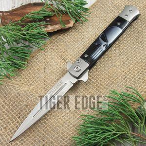 SPRING-ASSIST FOLDING POCKET KNIFE | Black White Skull Stiletto Blade Tactical