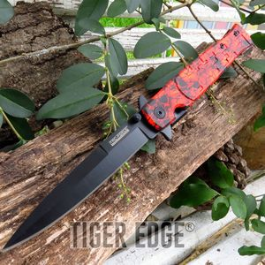 Tac-Force Red Camo Spring-Assisted Tactical Stiletto Folding Pocket Knife