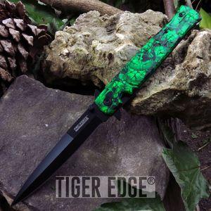 Green Zombie Skull Spring-Assisted Stiletto Combat Folding Pocket Knife