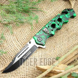 Tac-Force Green Zombie Skull Spring-Assisted Folding Tactical Pocket Knife