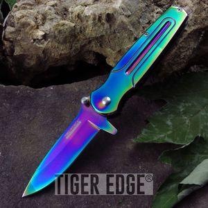 Tac-Force Rainbow Finish Futuristic Spring Assist Folding Knife EDC Blade
