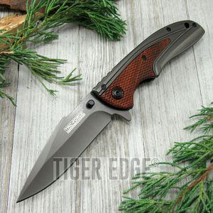 SPRING-ASSIST FOLDING POCKET KNIFE Tac-Force Gray Blade Red Wood Tactical TF-890