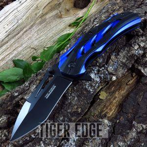 SPRING-ASSIST FOLDING POCKET KNIFE | Tac-Force Black Blue Tactical Tanto Blade