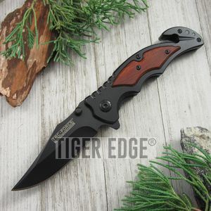 SPRING-ASSIST FOLDING POCKET KNIFE Tac-Force Wood Black Blade Rescue TF-929BK