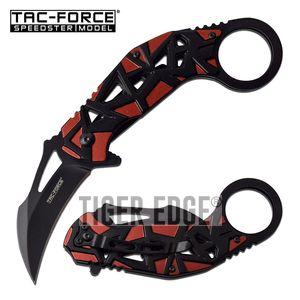 Spring-Assist Karambit Folding Knife Tac-Force Black Blade Red Tactical EDC