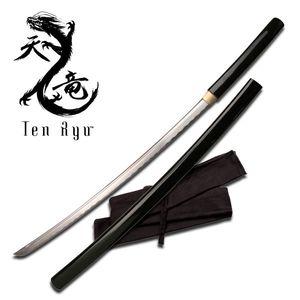 Ten Ryu Hand-Forged Carbon Steel Black Shirasaya Japanese Samurai Sword