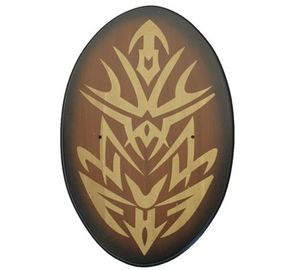 Brown Wood Tribal Oval Universal Sword Wall Display Plaque - Hardware Incl.
