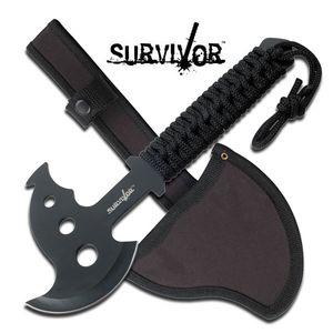 Survivor Black Throwing Axe Hatchet Tomahawk Paracord Handle Full Tang