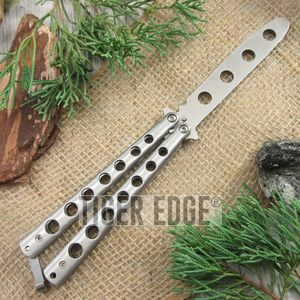 Harmless Silver Stainless Steel Practice Training Butterfly Knife