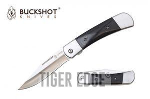 Spring-Assist Folding Pocket Knife   Buckshot Classic Black Wood Handle EDC