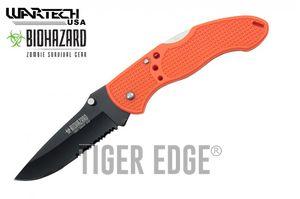 Folding Pocket Knife | Wartech Orange Black Serrated Blade Low-Cost Utility EDC